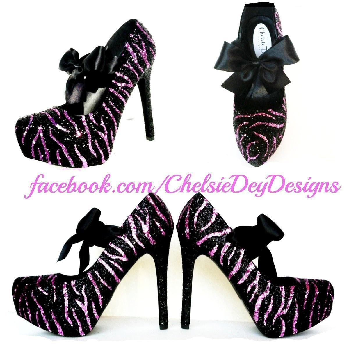 a872f33a2e1 Zebra High Heels Glitter Hot Pink Pumps Striped Wedding