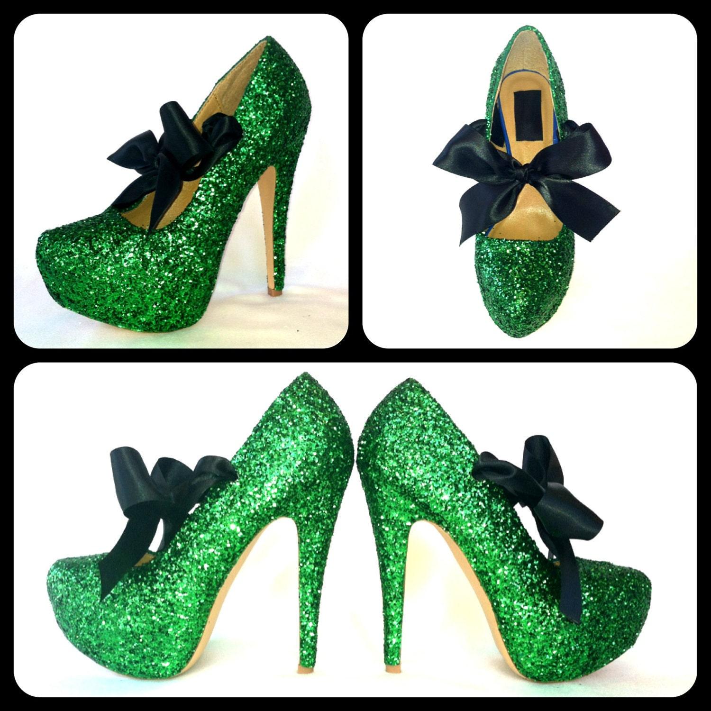 7ac60c7d25af Glitter High Heels Green Pumps Sparkly Platform Shoes