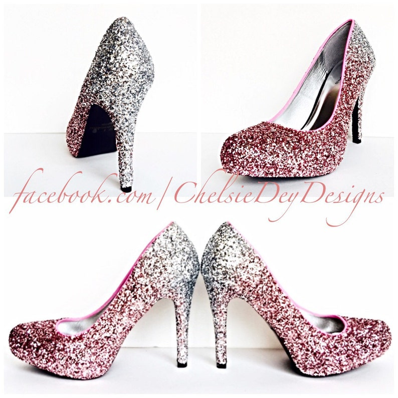 55f4d783a7a Glitter High Heels Silver Pink Pumps Light Pink Silver