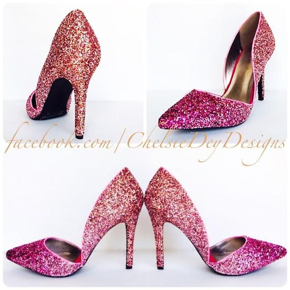 977f89ca77499 Glitter D'Orsay High Heels - Hot Pink Pumps - Light Pink Coral Orange Ombre  Platform Pumps - Sparkly Wedding Pumps - Open Sided Heels