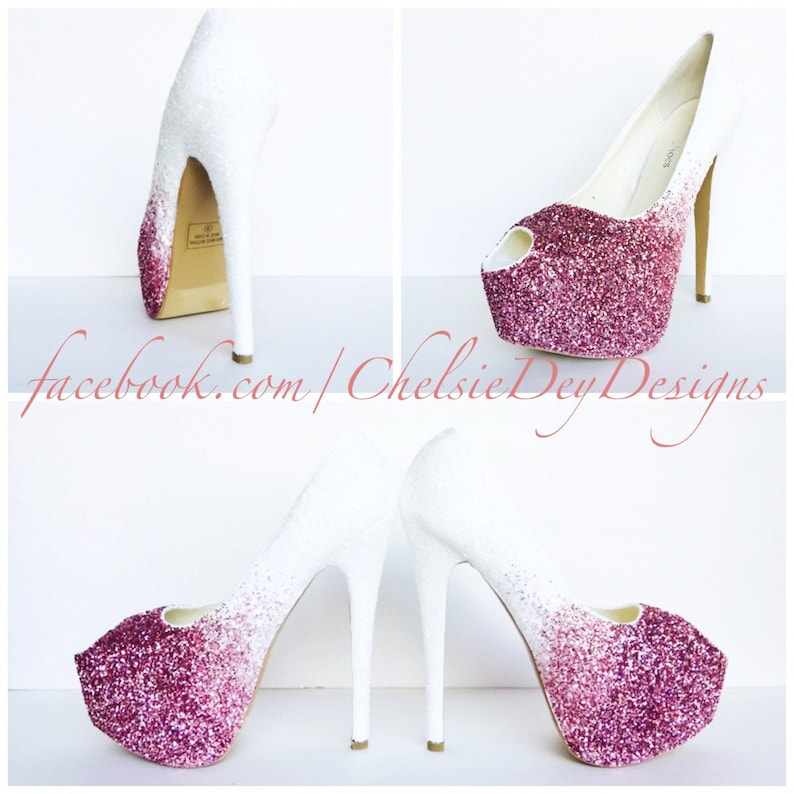fd933b4fd800 Glitter High Heels Light Baby Pink White Ombre Peep Toe