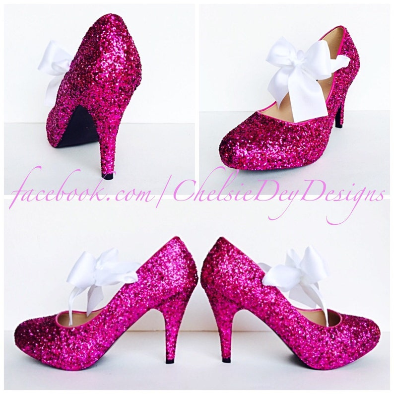 f753d5f26211 Glitter High Heels Hot Pink Pumps Sparkly Platform Shoes