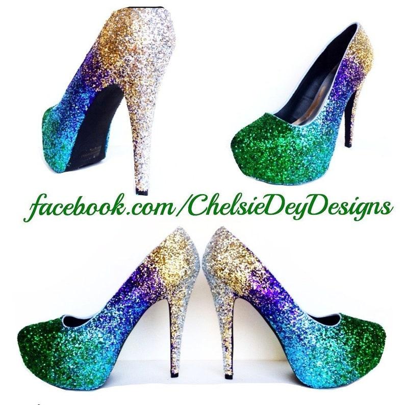 77926b720d9 Glitter High Heels Gold Green Royal Blue Purple Ombre Pumps
