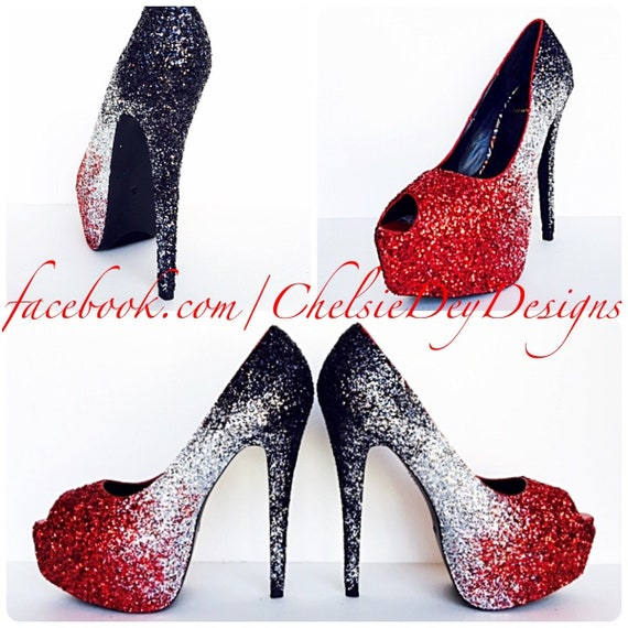 4b6e5dd9c Glitter High Heels Red Peep Toe Pumps Ombre Crimson Silver | Etsy
