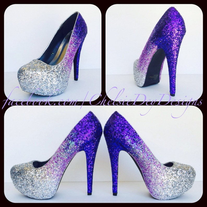 dbed1abfc9a8 Purple Glitter High Heels Silver Lilac Lavendar Ombre Pumps