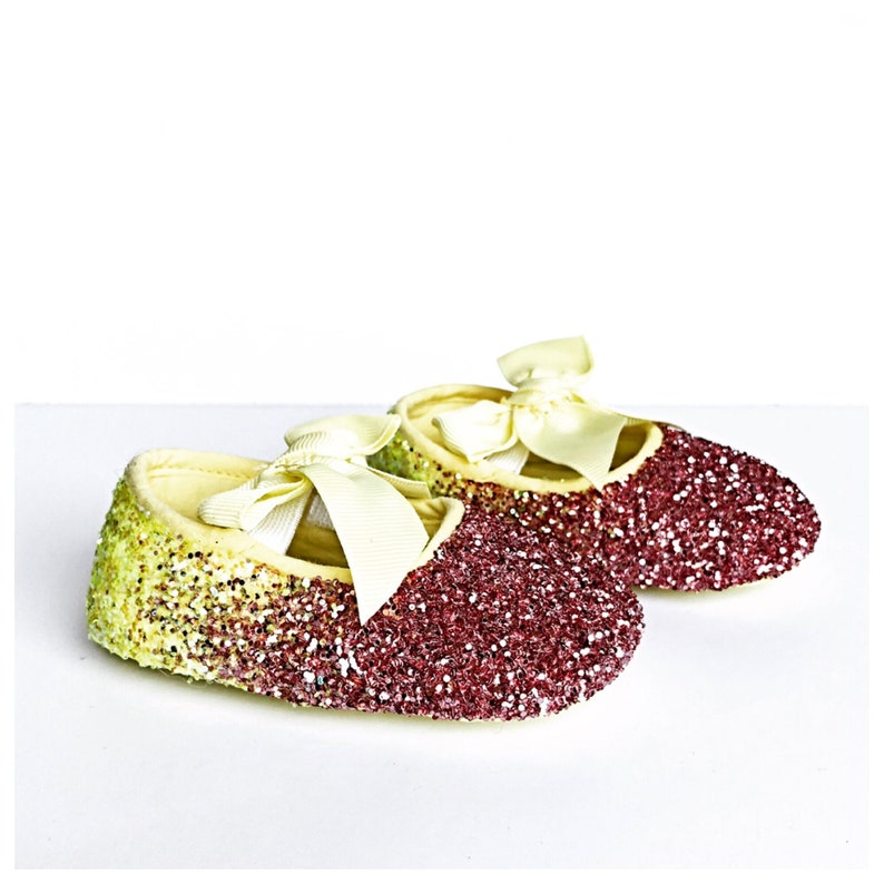 7b0191dce962c Baby Glitter Shoes - Yellow Pink Booties - Crystal Flats - Glitzy Lemon  Baby Slip on Shoes - Flower Girl Shoes - Baby Shower Shoes