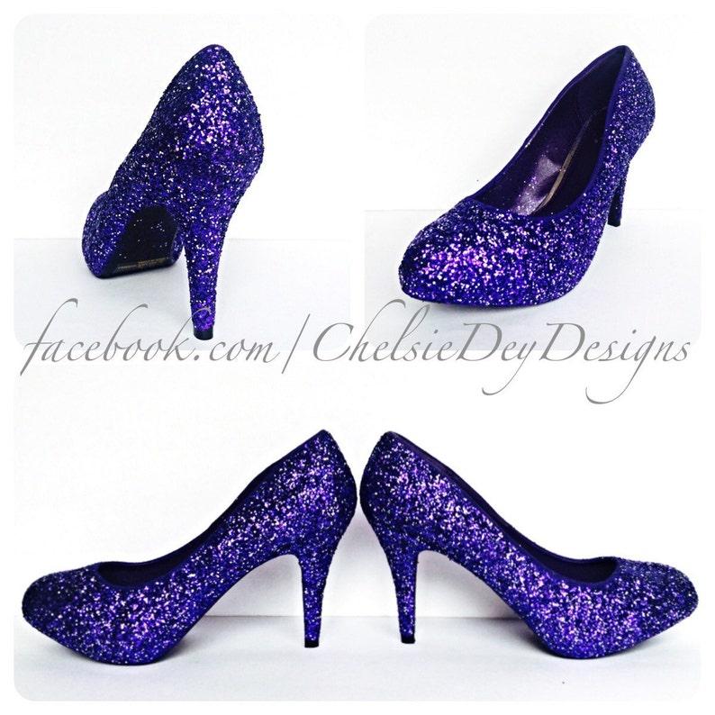4d86f99f904b Purple   Silver Glitter Low Heels Eggplant Royal Purple