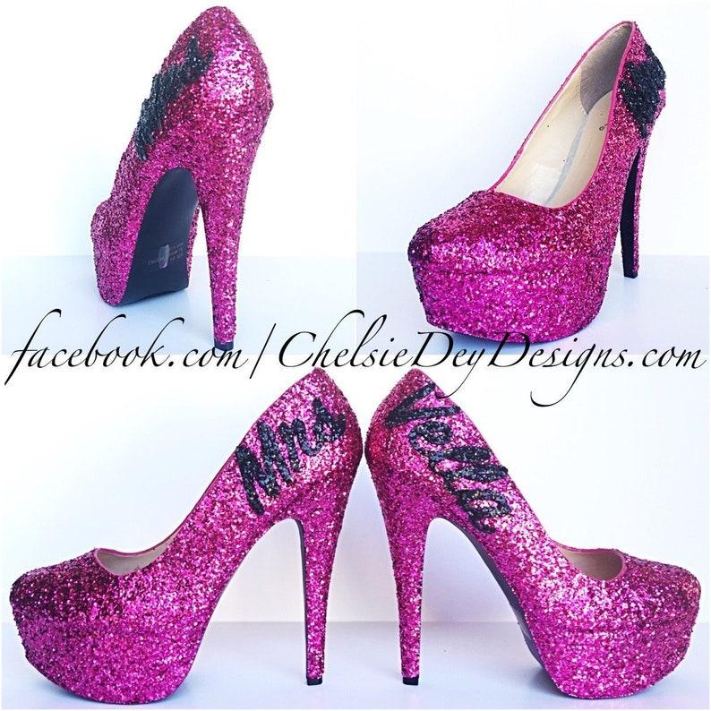 8a92a4070738 Wedding Glitter High Heels Hot Pink Pumps Pink and Black