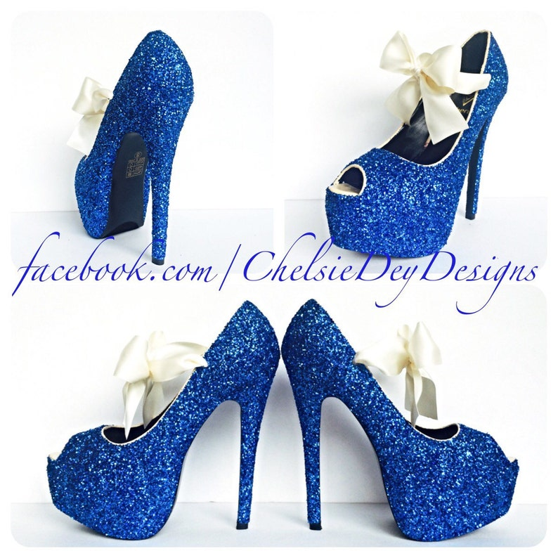 ceb2f7f1fdf Glitter High Heels Royal Blue Pumps Blue Peep Toe Open