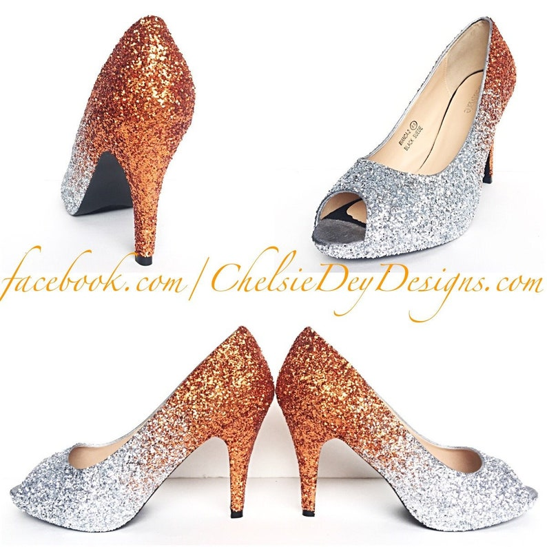 86891fc5df8 Glitter High Heels Orange Silver Peep Toe Pumps Ombre