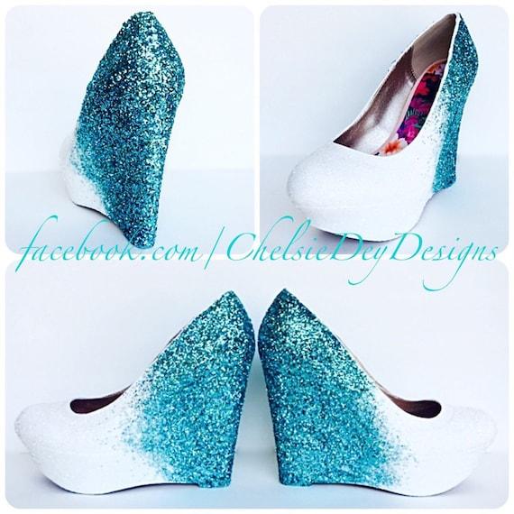 Paillettes chaussures compensées - turquoise blanc brillant Ombre plateforme talon bal - talons fastueux mariage Aqua Turquoise - bal talon cales - chaussures de retour aux sources 1f04af