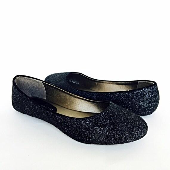 Black Flats Black Glitter Shoes Dark Ballet Flats  743d666cc