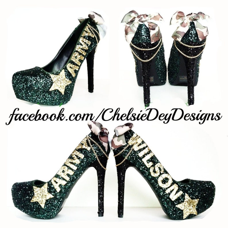 8c035951d4b Army High Heels Military Ball Shoes Camo Pumps Forest Green