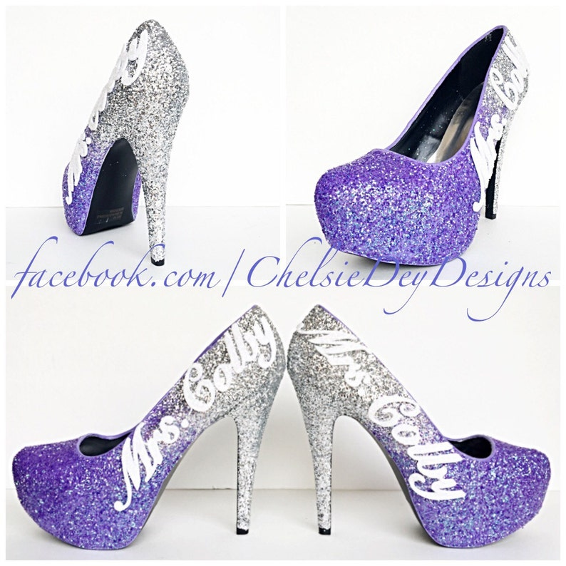 f90aa6ba0579 Purple Glitter High Heels Lilac Lavender Silver Ombre Pumps