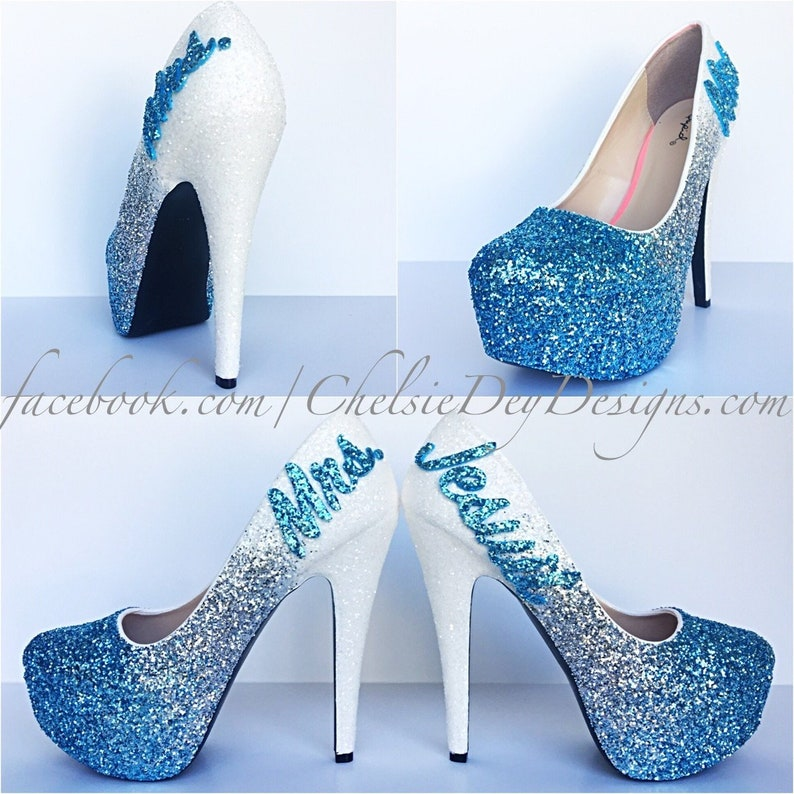da29fdc016def Glitter High Heels - Blue White Pumps -Aqua Turquoise Ombre Platform Shoes  - Fade Two Tone Heels - Last Name Wedding Heels