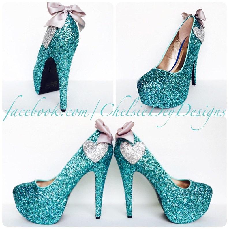 35a54496305 Glitter High Heels Robins Egg Blue Aqua Turquoise Pumps
