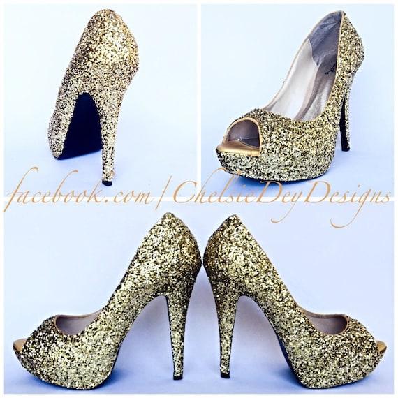 66eeb708533 Glitter High Heels - Gold Peep Toe Pumps - Champagne Open Toe Shoes -  Sparkly Metallic Wedding Shoes - Prom Platform Heels