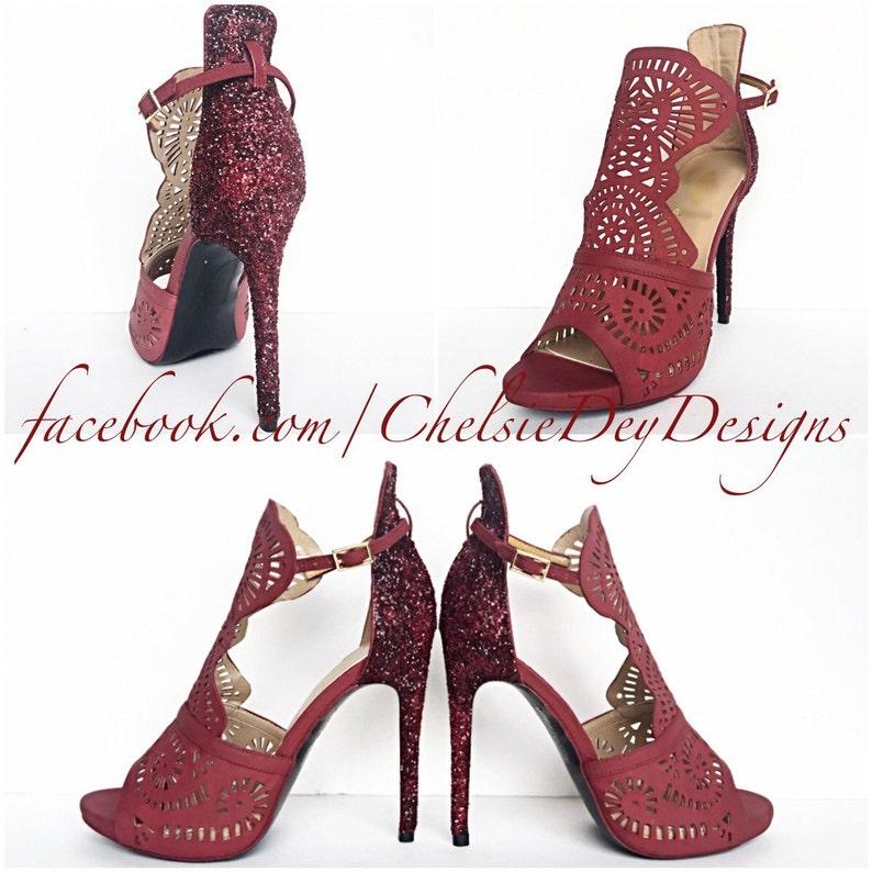b23cec3fca Burgundy High Heels Dark Red Glitter Heels Maroon Shoes | Etsy