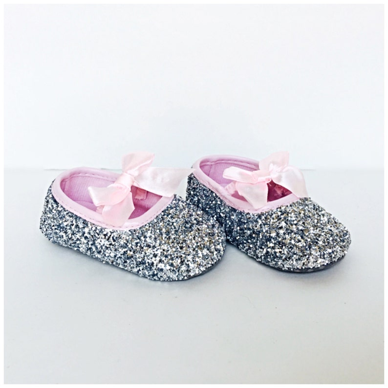8e04c036edb61 Baby Glitter Shoes - Silver Booties - Pink Crystal Flats - Glitzy Light  Pink Baby Slip on Shoes - Flower Girl Shoes - Baby Shower Shoes