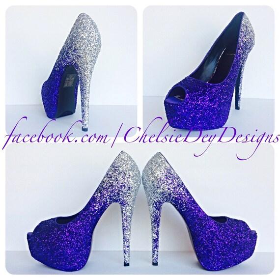 85d4fad1d7ce Purple Glitter High Heels Silver Ombre Peep Toe Pumps Open | Etsy