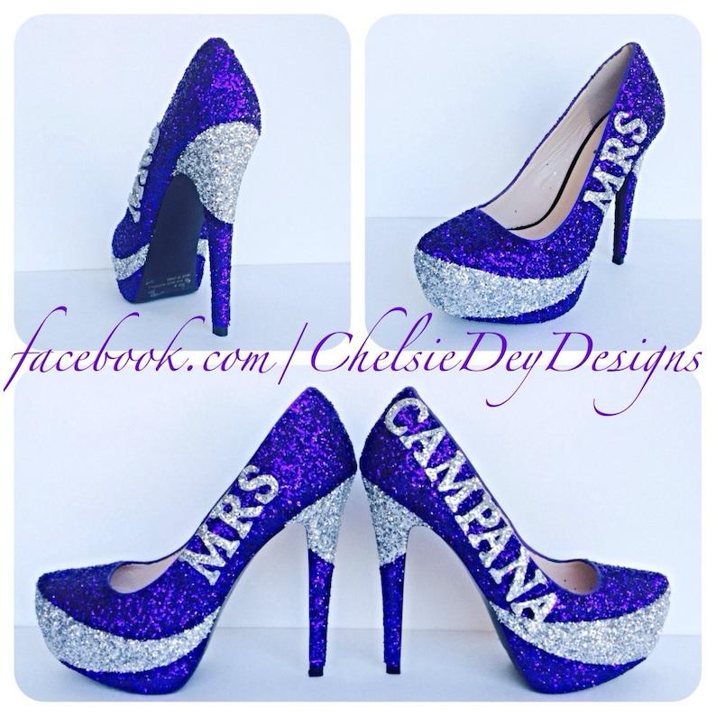 8e4430ef78d1 Silver Royal Purple Eggplant Wedding Last Name Glitter Pump