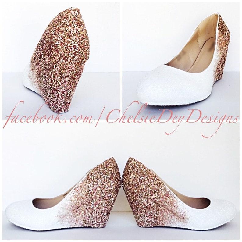 5ce4e7a91206 Glitter Wedges Rose Gold White Sparkly Ombre Low Heel