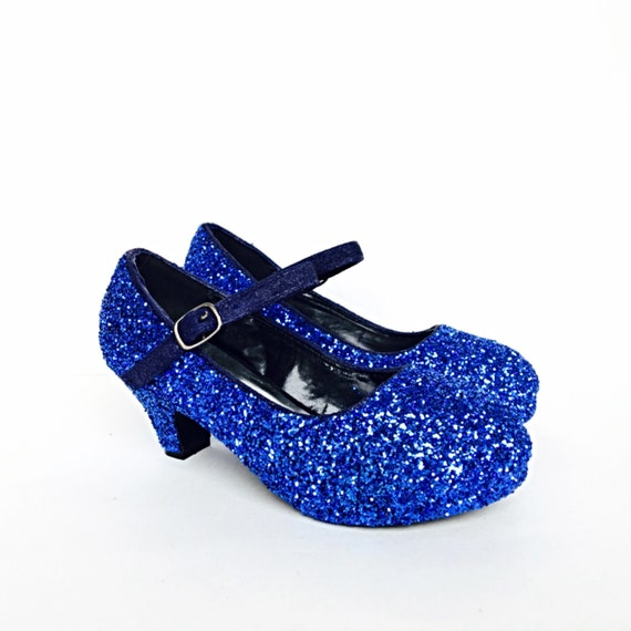 3dd4fc2bb613a Toddler Glitter Shoes - Blue Toddler Girls Heel - Royal Cobalt Blue Heel -  Glitzy Baby Flower Girl Shoes