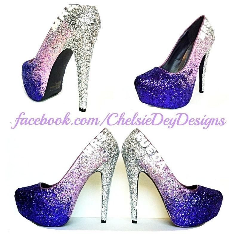 6e30393bc5c Purple Glitter High Heels Eggplant Lilac Lavender Silver