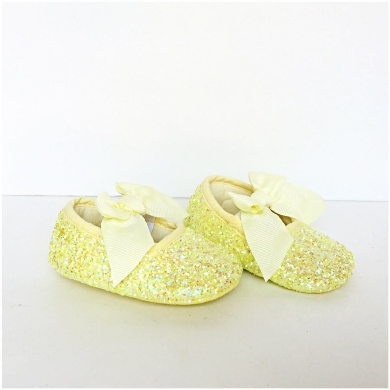 66a1a718cb70b Baby Glitter Shoes - Yellow Booties - Crystal Flats - Glitzy Lemon Baby  Slip on Shoes - Flower Girl Shoes - Baby Shower Shoes