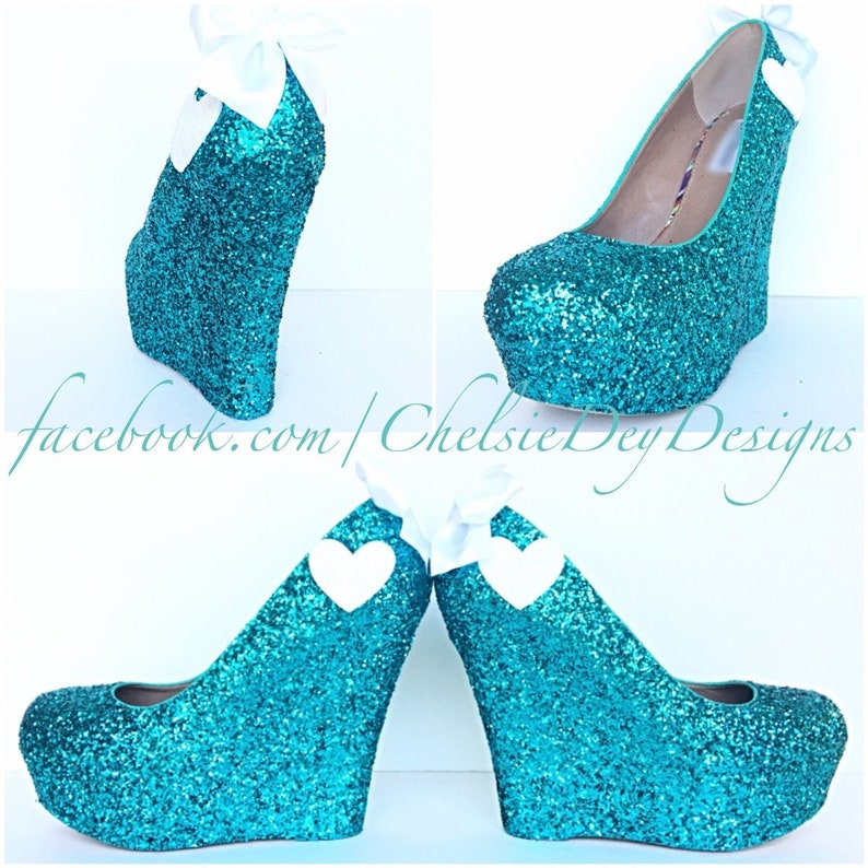 81404d8c46e0 Glitter Wedges Teal Sparkly Platform Heel Glitzy Turquoise