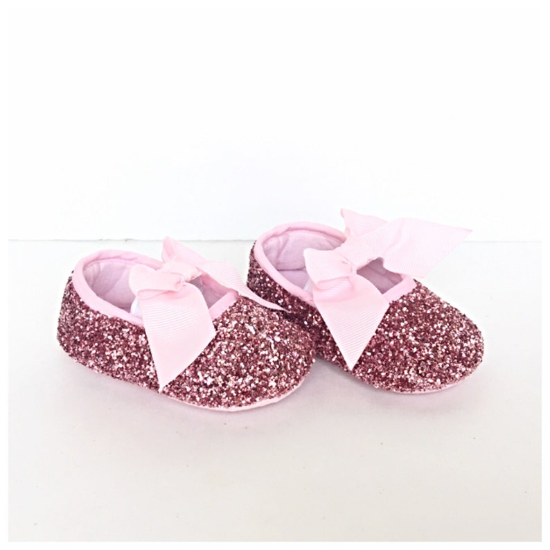 894978d842845 Baby Glitter Shoes - Pink Booties - Crystal Flats - Glitzy Light Pink Baby  Slip on Shoes - Flower Girl Shoes - Baby Shower Shoes