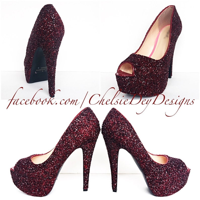 3dd51e7ae Glitter High Heels Burgundy Peep Toe Pumps Crimson Maroon image ...