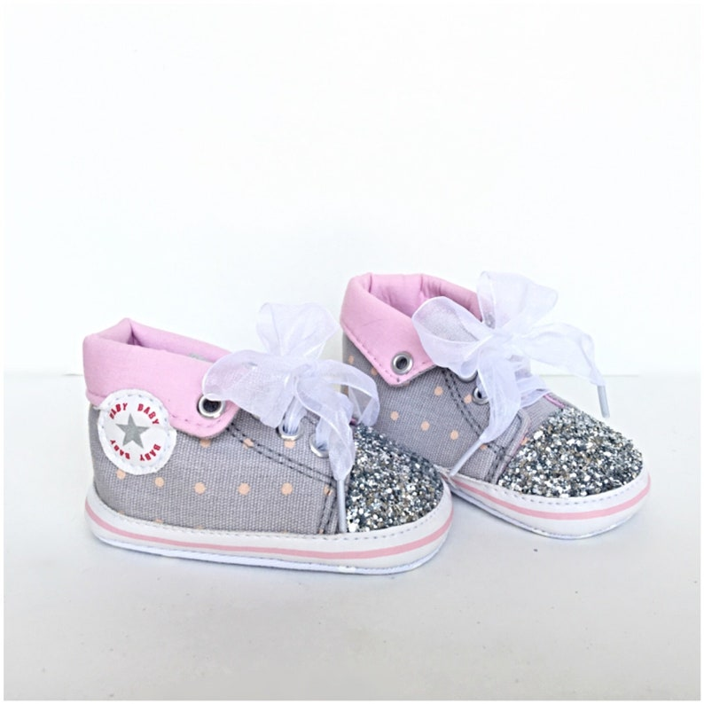 bb6d4abea07c Baby Glitter Shoes Pink Silver Kids High Top Chucks