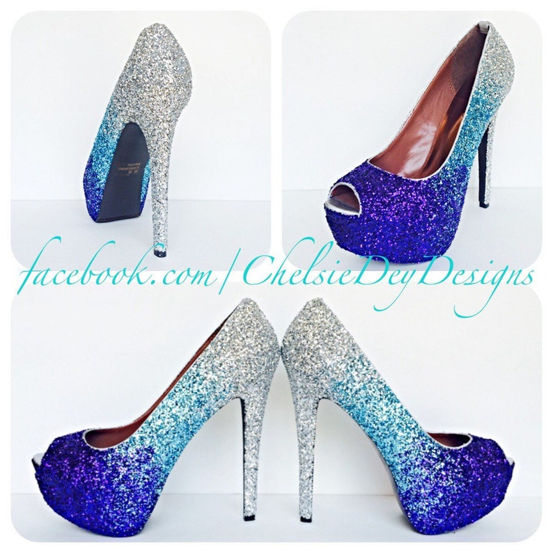 Glitter High Heels Purple Ombre Pumps Silver Light Blue Eggplant Peep Toe Open Toe Fade Shoe Wedding High Heels
