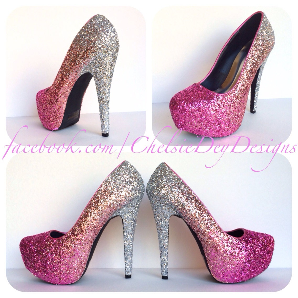 353f51ebf8e1 Glitter High Heels Hot Pink Pumps Light Pink Silver Ombre | Etsy