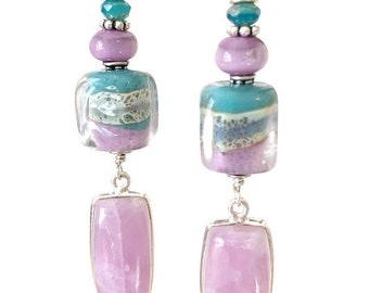 Pink and blue boro lampwork earrings with perfectly matching pink kunzite drops.