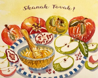 Harvest Wholeness–Rosh Hashanah New Years Card, by Michelle Kogan, Jewish New Year, Shanah Tovah, Greeting Card, Haiku, Art & Collectibles