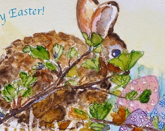 Cottontail and Eggs Easter Card, by Michelle Kogan, Greeting Card, Art and Collectibles, Children, Blank, Watercolor, Easter Eggs, Bunnies