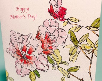 Azalea Mother's Day Card, by Michelle Kogan, Greeting Card, Art & Collectibles, Watercolor, Pen and Ink, Blank, Flowers, Mother's Day, Mom