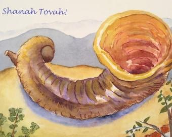 Shofar Rosh Hashanah New Years Card, by Michelle Kogan, Watercolor, Jewish New Year, Shanah Tovah, haiku, Art & Collectibles, Nature
