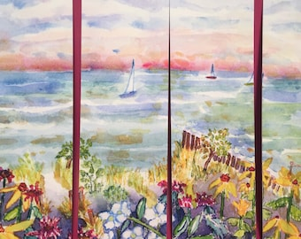 Three Sailboats Bookmarks, by Michelle Kogan, Books, Books and Accessories, Birthday, Boats, Watercolor, Poem, Art & Collectible, Watercolor