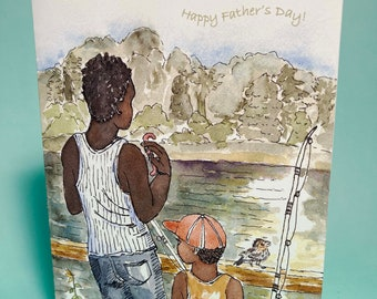 Father's Day Fishing Card, by Michelle Kogan, Father's Day, Dad, Greeting Card, Watercolor, Pen & Ink, Nature, Art  and Collectible, Birds
