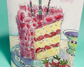 Strawberry Birthday Card, by Michelle Kogan, Greeting Card, Art and Collectibles, Blank, Poem, Haiku, Watercolor, Pen, Cake, Happy Birthday