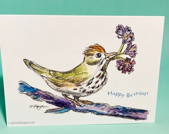 Ovenbird Birthday Card, by Michelle Kogan, For Bird lovers any age Children Mom Dad friend Aunt Uncle, Watercolor and pencil, poem, Blank
