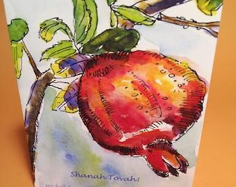 Rosh Hashanah Pomegranate Greeting Card, by Michelle Kogan, Shanah Tova, Jewish New Year, Haiku, Painting