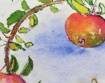 Rosh Hashanah Apples and Bee Greeting Card, by Michelle Kogan, Shanah Tovah, Jewish New Year, haiku, painting, Art and Collectibles, Nature