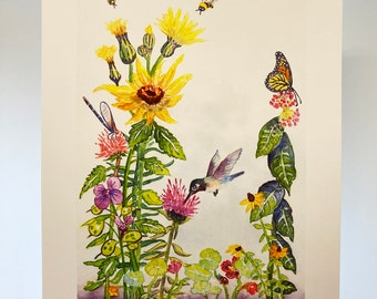 Little Ditty Hummingbird Print, Nature's Summertime Pollinators, Bees, Monarchs, Watercolor Print, Giclée, For Nature Lovers, Children, Art
