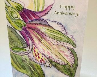Alstroemeria Anniversary Card, by Michelle Kogan, Married Couples, Husband, Wife, She, Her, They, He, Him, Watercolor & pen