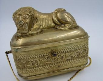 Brass Figural Sleeping Lion Purse, Shoulder bag, Repousse, Unique and Vintage