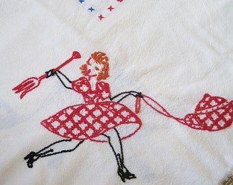 Embroidered Tablecloth with Woman and Utensils, vintage, good condition